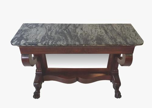 Beautiful 19th Century Marble Top Flame Mahogany Console Table (1 of 5)