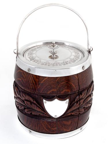 Victorian Oak and Silver Plated Barrel with a Carved Band of Oak Leaves and Acorns (1 of 4)