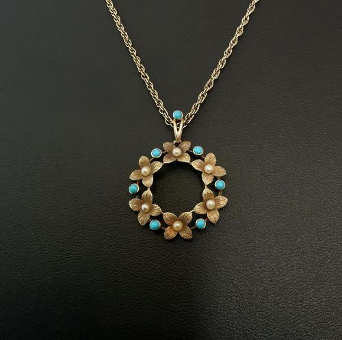 Antique Art Nouveau 15ct Gold Floral Pendant, Pearl & Turquoise, 9ct Gold Necklace (1 of 12)