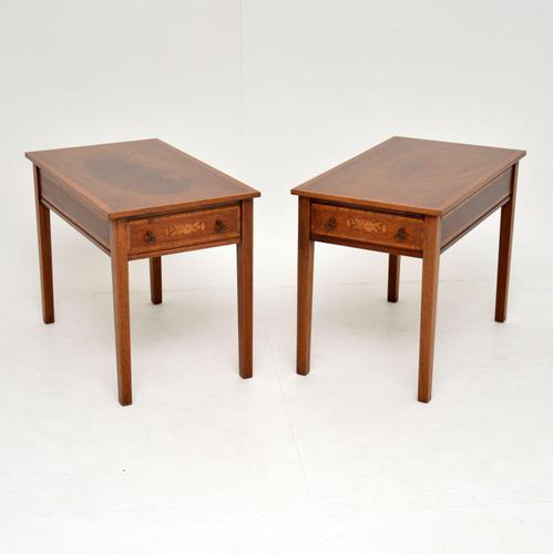 Pair of Antique Inlaid Mahogany Side Tables (1 of 12)