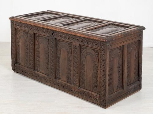Wonderful Carved Oak Coffer (1 of 10)