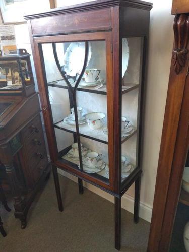 Pair of Edwardian Glazed Mahogany Display Cabinet with 2 Shelves (1 of 8)
