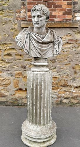 Large Composite Stone Statue On Column - Julius Cesar (1 of 11)