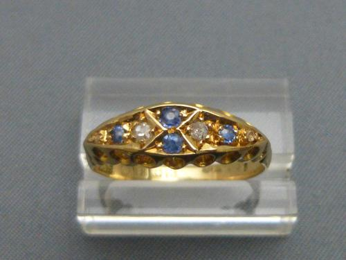 Edwardian 18ct Gold, Diamond & Sapphire Ring (1 of 6)