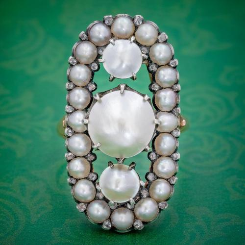 Antique Georgian Natural Pearl Diamond Ring Silver 18ct Gold c.1820 (1 of 4)