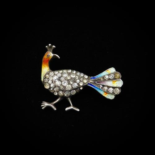 Antique Enamel and Paste Silver Peacock Bird Brooch Pin (1 of 10)