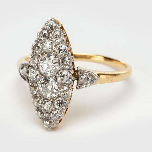Antique Edwardian Marquise Shape 1.00 Carat Diamond Cluster Ring c.1901 (1 of 5)