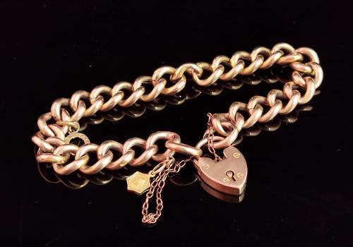 Antique 9ct Gold Curb Bracelet, Edwardian (1 of 9)