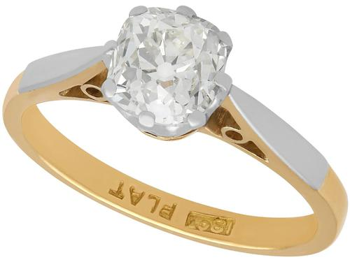1.23ct Diamond & 18ct Yellow Gold Solitaire Ring - Antique c.1910 (1 of 9)