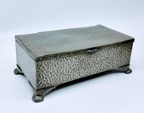 Antique Arts & Crafts Art Deco Hammered Pewter Cigarette Box (1 of 9)