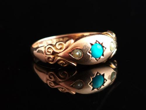 Antique Turquoise & Pearl Ring, 9ct Gold (1 of 11)