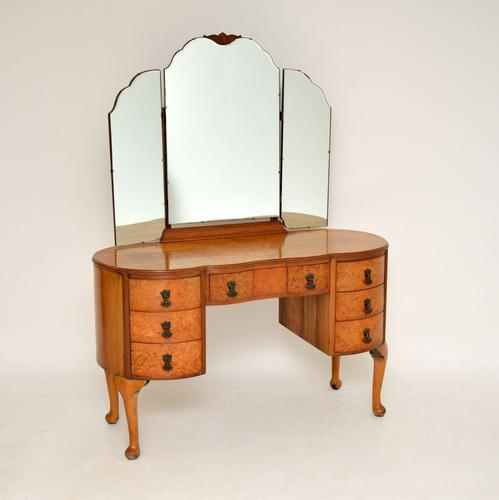 Queen Anne Style Burr Walnut Dressing Table c.1930 (1 of 9)