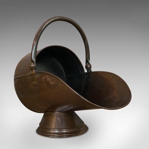 Antique Coal Scuttle, English, Copper, Brass, Fireside Bin, Victorian c.1900 (1 of 9)
