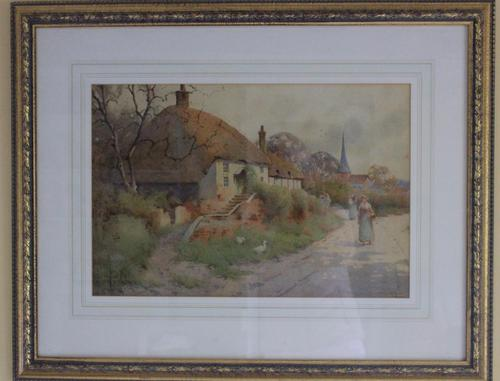 Good Late 19th Early 20th Century Watercolour Village Scene - S E Hall (1 of 7)