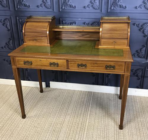 Victorian Inlaid Mahogany Writing Desk (1 of 20)