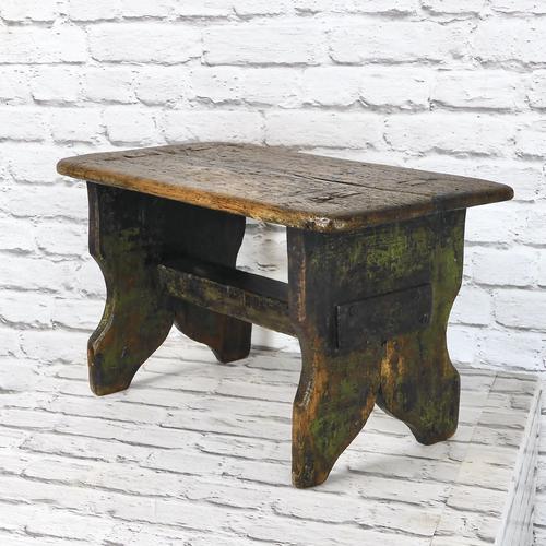 Large Rustic Bench Stool, Original Paint (1 of 6)