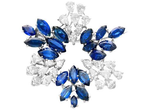 7.95ct Sapphire & 4.75ct Diamond, Platinum Pendant / Brooch - Vintage c.1960 (1 of 9)