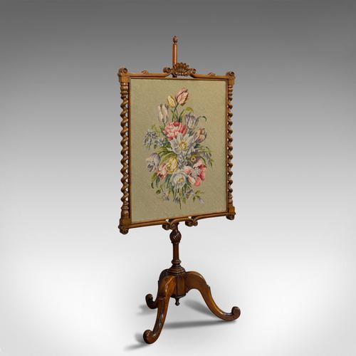 Antique Adjustable Fire Screen, Walnut, Needlepoint, Decorative, Pole, Regency (1 of 12)