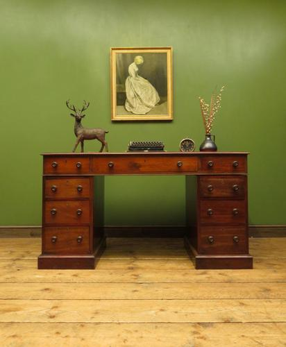 Antique Pedestal Partners Desk with Red Leather top and dummy drawers (1 of 13)