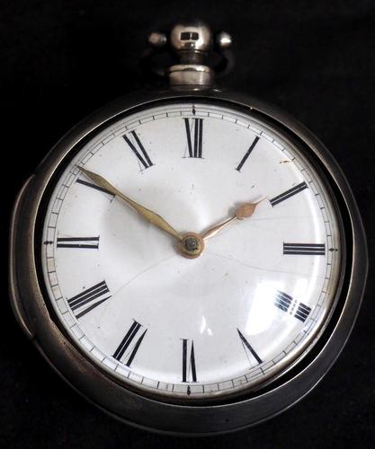 Antique Silver Pair Case Pocket Watch Fusee Verge Escapement Key Wind Enamel Dial (1 of 10)