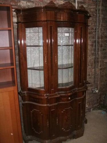 Ornate Italian Style Inlaid Display Cabinet on Cupboard Base (1 of 4)