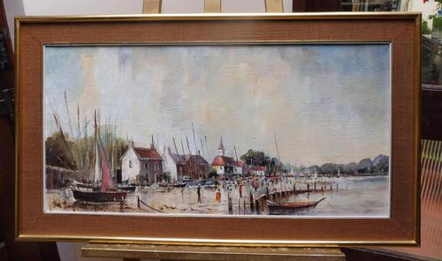 Large Oil on Canvas Dockside View Listed Artist Ira Englefield (1 of 12)