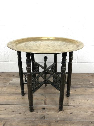 Early 20th Century Middle Eastern Brass Tray Top Folding Table (1 of 8)