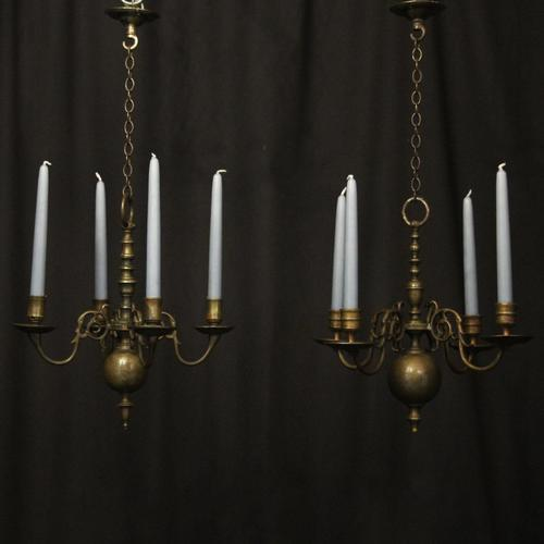 English Pair of Bronze Antique Chandeliers (1 of 10)
