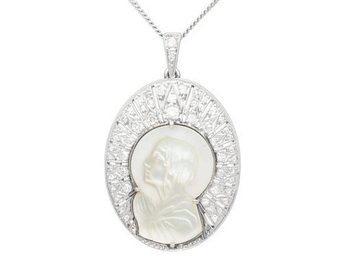 Mother of Pearl & 0.45ct Diamond, Platinum Pendant - Antique c.1920 (1 of 9)