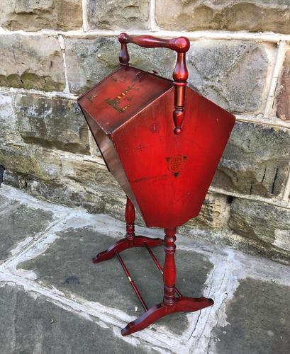 Antique Red Lacquered Chinoiserie Sewing Basket (1 of 10)