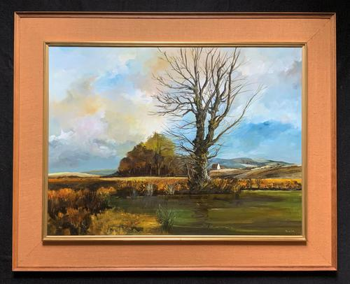 Large Magnificent Extensive Vintage Autumn Country Landscape Oil Painting (1 of 13)
