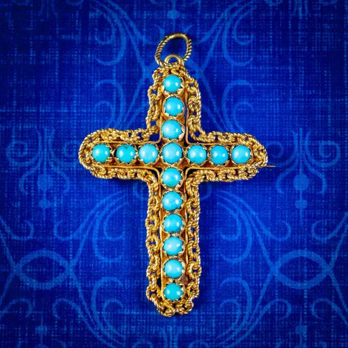 Antique Victorian Turquoise Cannetille Cross Pendant Brooch 18ct Gold c.1860 (1 of 5)