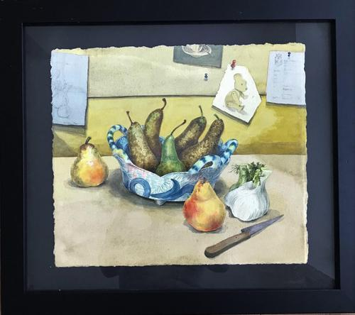 Original Watercolour 'Still-life of Pears, Fennel and Teddy Bear by Colleen Farr (1 of 6)