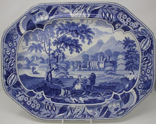 Antique Blue & White Pearlware Parkland Scenery Platter (1 of 12)