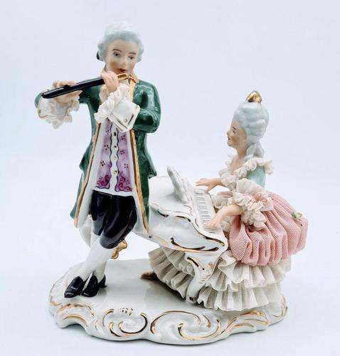 Dresden Germany Porcelain Figurine Musicians Playing Piano & Flute (1 of 9)