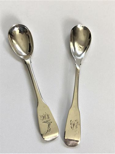 Two 19th Century Irish Silver Mustard Spoons (1 of 5)