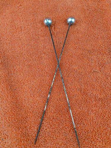 Pair of Antique Sterling Silver Ball Ended Hat Pins 7 Inches C1890 (1 of 6)
