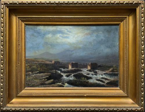 Original 19th Century Period Antique Scottish Highland Bridge Landscape Oil Painting (1 of 11)
