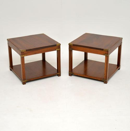 Pair of Antique Mahogany Military Campaign Side Tables (1 of 7)