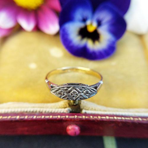 Antique Art Deco 18ct Yellow Gold & Diamond Boat Ring (1 of 7)