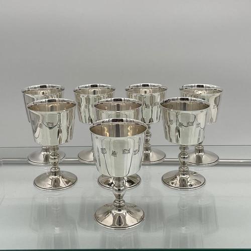Modern Sterling Silver Suite Eight Wine Goblets Birmingham 1973 Barker Ellis Silver & Co (1 of 8)