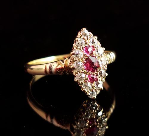 Victorian Ruby & Diamond Navette Ring (1 of 14)