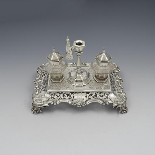 Antique Victorian Silver Double Inkstand With Taperstick & Stamp Box (1 of 15)