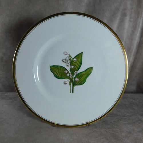 """Royal Worcester Hand Painted """"Lily of the Valley"""" Botanical Plate (1 of 4)"""