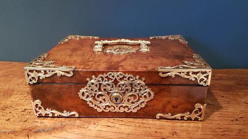 Superb Antique Figured Walnut Jewellery Box (1 of 6)