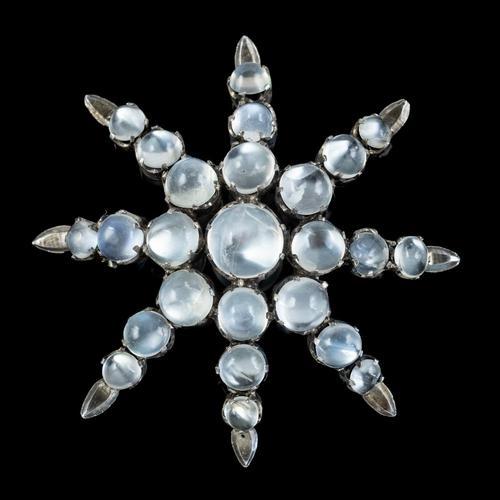 Antique Victorian Moonstone Star Brooch Silver c.1900 (1 of 5)