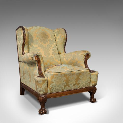 Antique Wing-Back Armchair, English, Fireside, Lounge, Seat, Edwardian, 1910 (1 of 12)