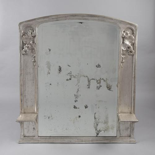 Large French Art Nouveau Silvered Overmantle Mirror (1 of 7)