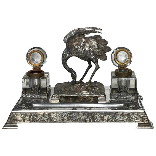Antique Victorian Silver Plate Crane Bird Inkwell Stand After James Deakin (1 of 37)