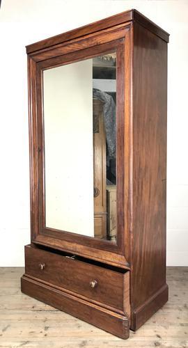 Large Victorian Single Door Mahogany Wardrobe with Mirror (1 of 11)